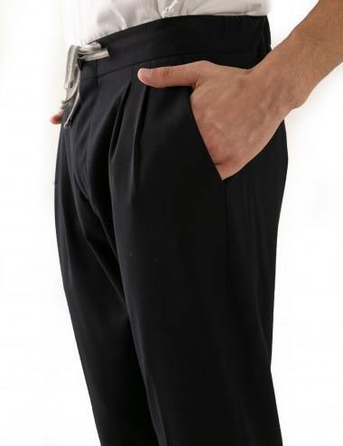 Pantaloni Ali mod.Partenope n.25 nero  con doppia pinces dettaglio frontale