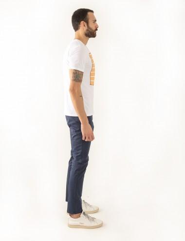 Pantaloni Raso mod.Chiaia N03 blu indossato laterale
