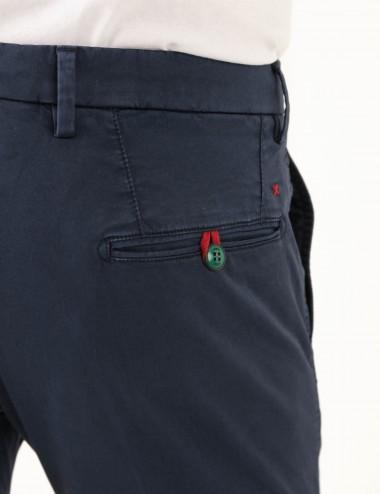 Pantaloni Raso mod.Chiaia N03 blu dettaglio tasca