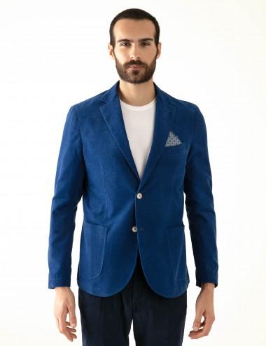 "Giacca monopetto blu VAB mod. ""Nisida"" in cotone ultra-light indossata frontale"