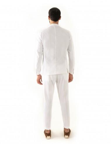 "Giacca monopetto bianca VAB mod. ""Nisida"" in cotone ultra-light indossata retro"
