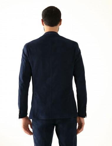 """Giacca monopetto blu scuro VAB mod. """"Nisida"""" in cotone ultra-light indossata dettaglio retro"""