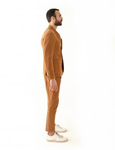 """Giacca Doppiopetto VAB mod. """"Gaiola"""" in cotone ultra-light cachi indossato laterale"""