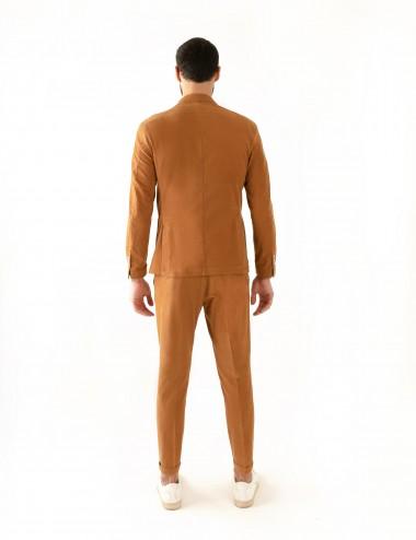 """Giacca Doppiopetto VAB mod. """"Gaiola"""" in cotone ultra-light cachi indossato retro"""