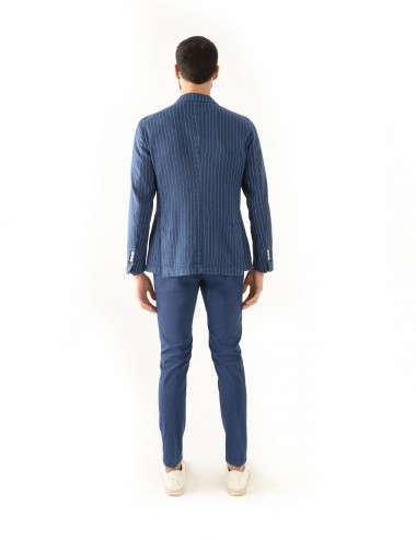 """Giacca Monopetto PT mod. """"Nisida"""" blu in cotone/lino stretch indossato retro"""