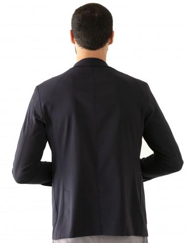"Giacca Monopetto WV mod. ""Nisida"" blu in lana soft-fresh indossato dettaglio retro"