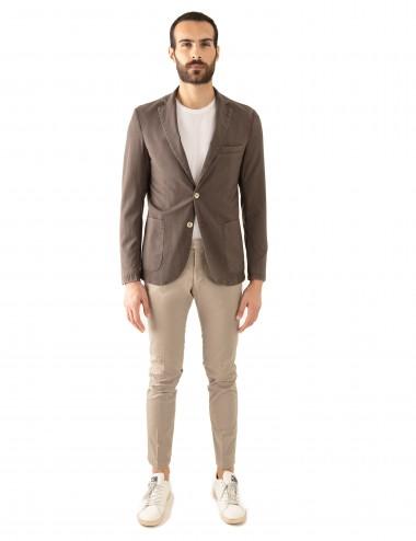 "Giacca Monopetto WV mod. ""Nisida"" marrone in lana soft-fresh indossato frontale"