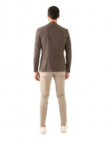 "Giacca Monopetto WV mod. ""Nisida"" marrone in lana soft-fresh indossato retro"