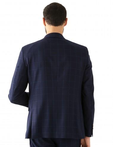 Abito Monopetto A022 fantasia in misto lana indossato dettaglio retro